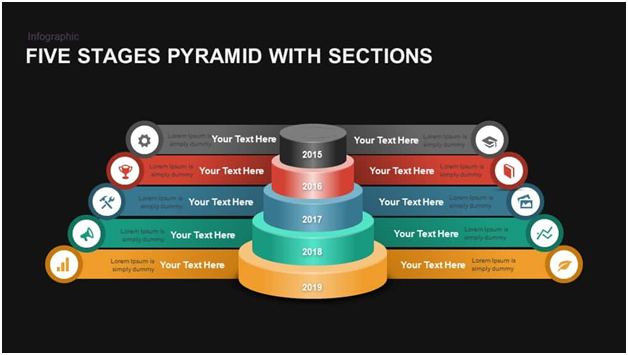 5 Stages Ribbon Pyramid Diagram Template