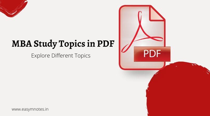MBA Study Topics in PDF